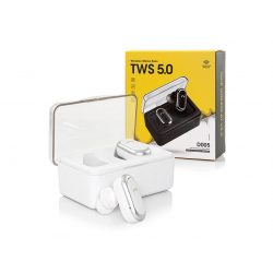 TWS Bluetooth sztereó headset v5.0 + töltőtok - TWS D005 True Wireless Earphones - white
