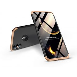 Apple iPhone XS Max hátlap - GKK 360 Full Protection 3in1 - Logo - fekete/arany