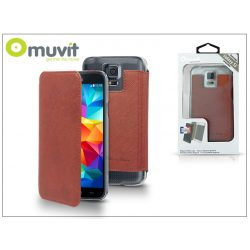 Samsung SM-G900 Galaxy S5 flipes tok - Muvit Crystal Folio - brown