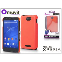 Sony Xperia E4 (E2104/E2105) hátlap - Made for Xperia Muvit Soft Touch - orange