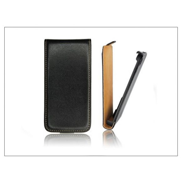 Slim Flip bőrtok - Samsung S7390 Galaxy Fresh - fekete