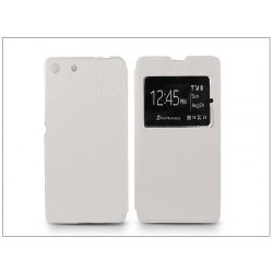 Sony Xperia M5 (E5603/E5606/E5653) S-View Flexi oldalra nyíló flipes tok - fehér