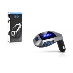X5 FM-transmitter - Bluetooth + USB + memóriakártya olvasó - fekete/ezüst