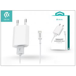 Apple iPhone 5/5S/5C/SE/6S/6S Plus USB hálózati töltő adapter + lightning adatkábel - 5V/1A - Devia Smart Charger Suit - white