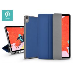 Apple iPad Pro 11 (2018) védőtok (Smart Case) Apple Pencil tartóval - Devia Leather Case V2 - blue