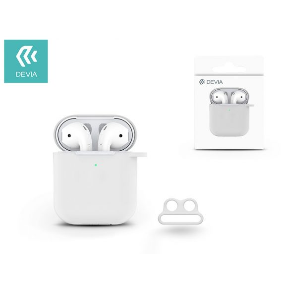 Devia szilikon tok AirPods fülhallgatóhoz - Devia AirPods v.2 Naked Silicone Case Suit for AirPods (whit loophole) - white