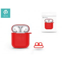 Devia szilikon tok AirPods fülhallgatóhoz - Devia AirPods v.2 Naked Silicone Case Suit for AirPods (whit loophole) - red