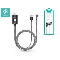 Apple iPhone 5/5S/5C/SE/iPad 4/iPad Mini Lightning + USB + HDMI kábel 2 m-es vezetékkel - Devia Storm Series HDMI Cable - black