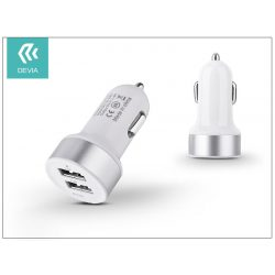Devia Smart Dual USB szivargyújtós töltő adapter - 5V/2,4A - white/silver