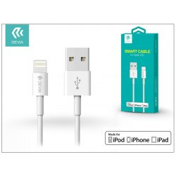 Apple iPhone 5/5S/5C/SE/iPad 4/iPad Mini USB töltő- és adatkábel - 1 m-es vezetékkel (Apple MFI eng.) - Devia Smart Cable Lightning - white