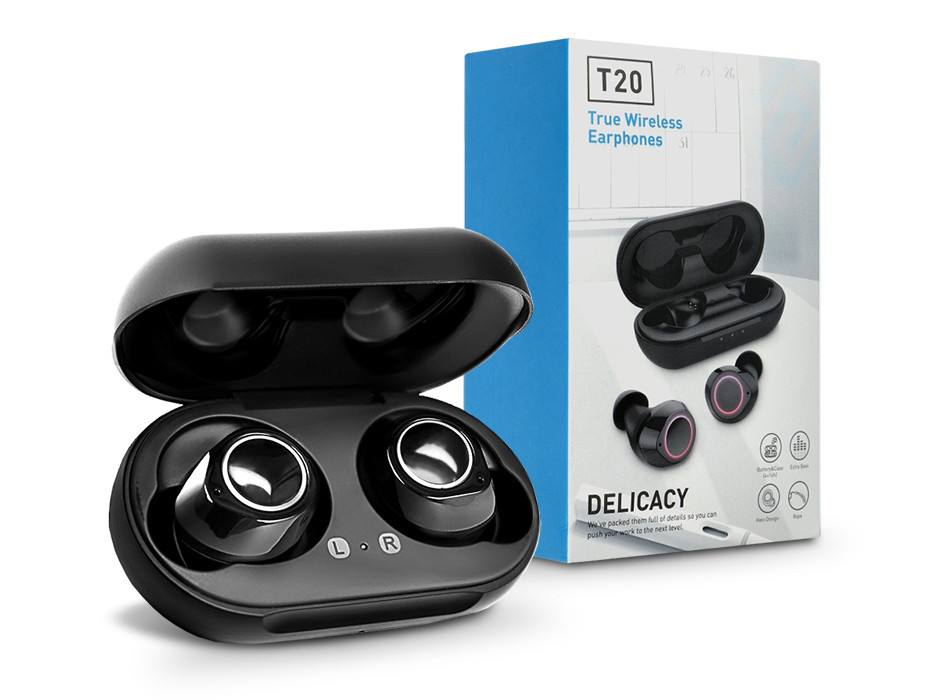 TWS Bluetooth sztereó headset v5.0 + töltőtok - TWS T20 Delicacy True Wireless Earphone - fekete