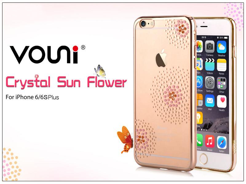 Apple iPhone 6 Plus/6S Plus hátlap kristály díszitéssel - Vouni Crystal Sun Flower - champagne gold